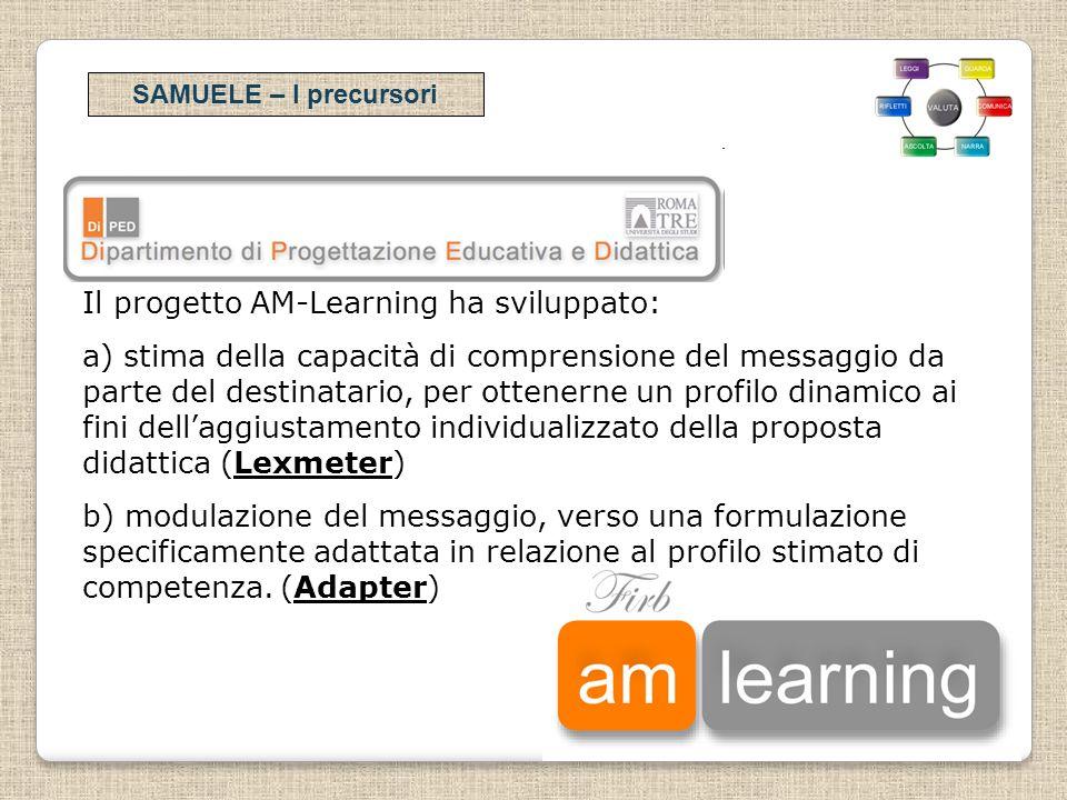 SAMUELE – I precursori Il progetto AM-Learning ha sviluppato: a) stima della capacità di comprensione del messaggio da parte del destinatario, per ott