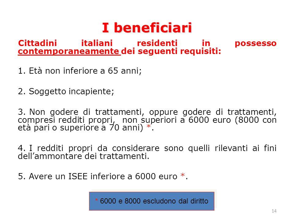 14 I beneficiari Cittadini italiani residenti in possesso contemporaneamente dei seguenti requisiti: 1.