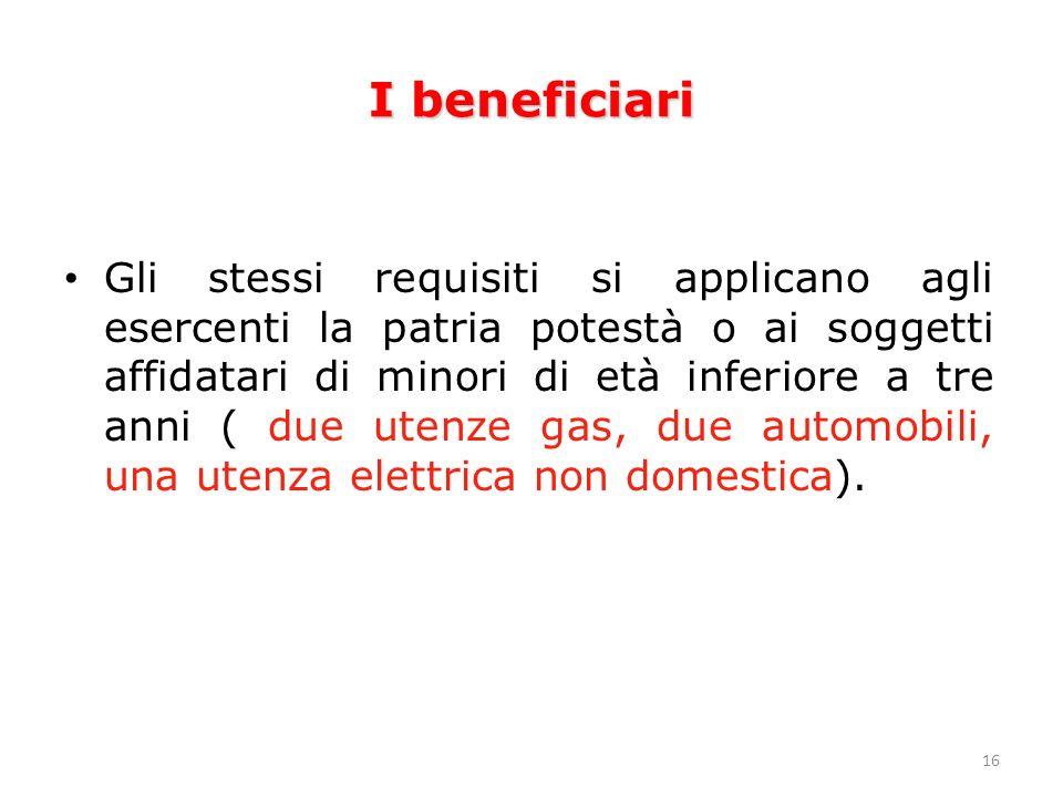 16 I beneficiari Gli stessi requisiti si applicano agli esercenti la patria potestà o ai soggetti affidatari di minori di età inferiore a tre anni ( due utenze gas, due automobili, una utenza elettrica non domestica).
