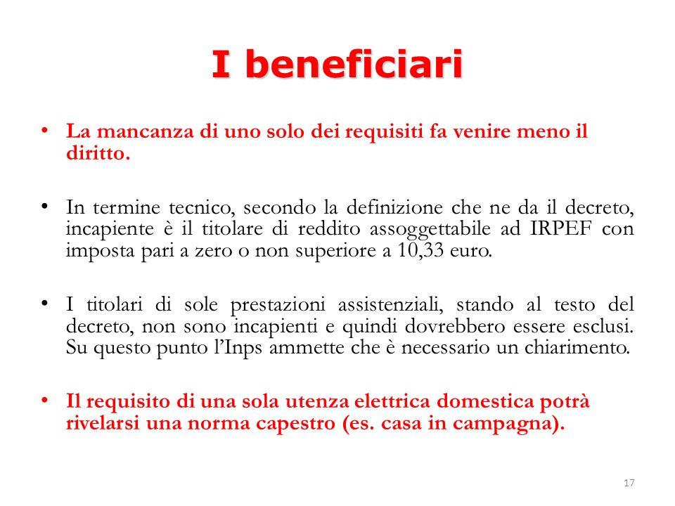 17 I beneficiari La mancanza di uno solo dei requisiti fa venire meno il diritto.