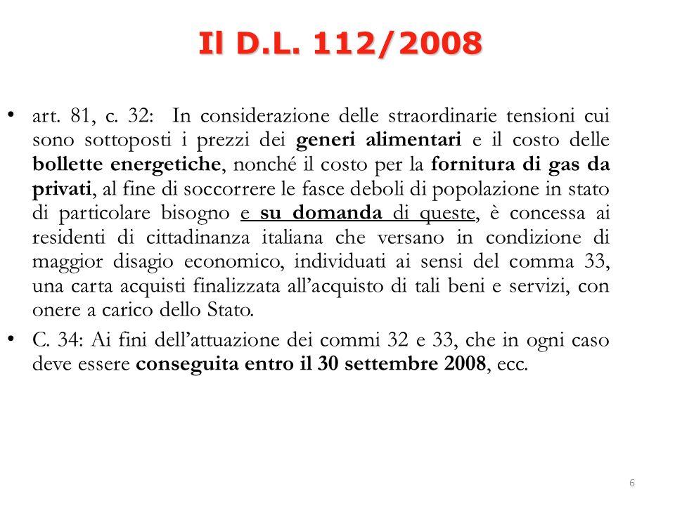 6 Il D.L. 112/2008 art. 81, c.