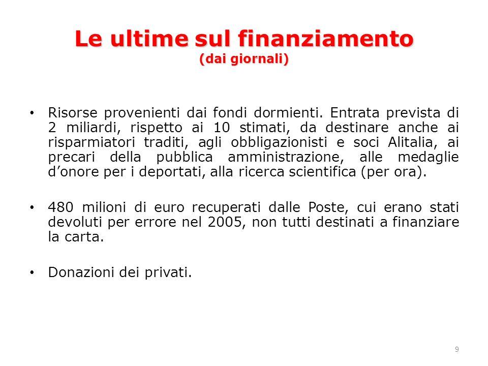 9 Le ultime sul finanziamento (dai giornali) Risorse provenienti dai fondi dormienti.