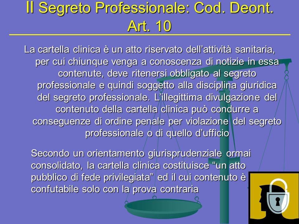Il Segreto Professionale: Cod.Deont. Art.