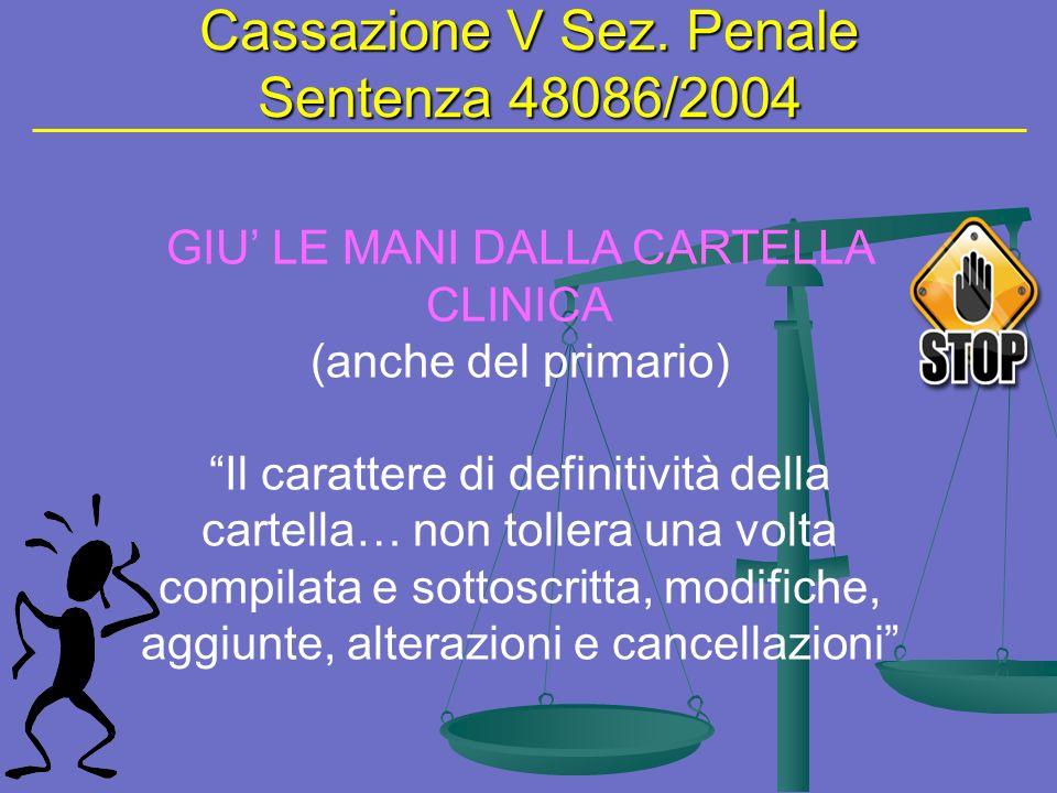 Cassazione V Sez. Penale Sentenza 48086/2004 GIU LE MANI DALLA CARTELLA CLINICA (anche del primario) Il carattere di definitività della cartella… non