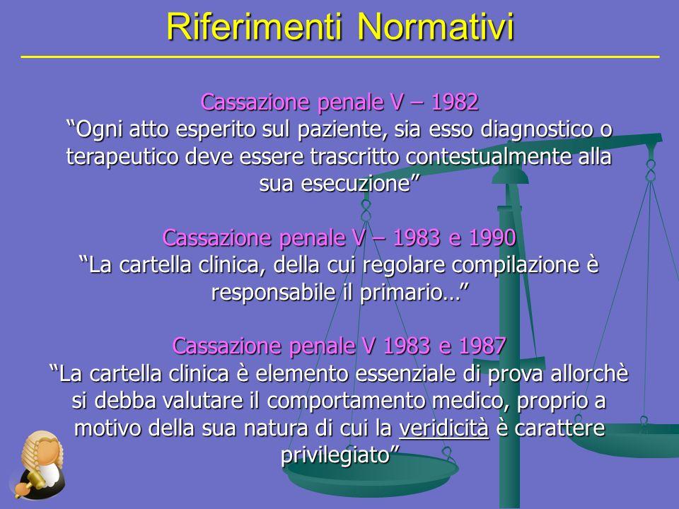 Riferimenti Normativi Cassazione penale V – 1982 Ogni atto esperito sul paziente, sia esso diagnostico o terapeutico deve essere trascritto contestual