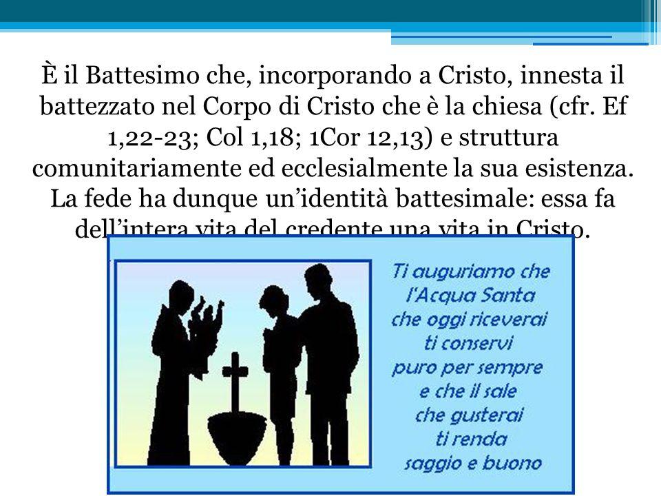 È il Battesimo che, incorporando a Cristo, innesta il battezzato nel Corpo di Cristo che è la chiesa (cfr. Ef 1,22-23; Col 1,18; 1Cor 12,13) e strut