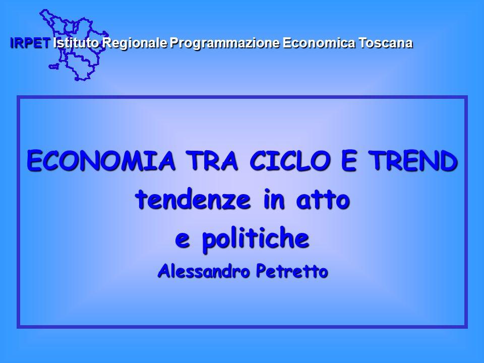ECONOMIA TRA CICLO E TREND tendenze in atto e politiche A lessandro Petretto IRPETIstituto Regionale Programmazione Economica Toscana IRPET Istituto Regionale Programmazione Economica Toscana