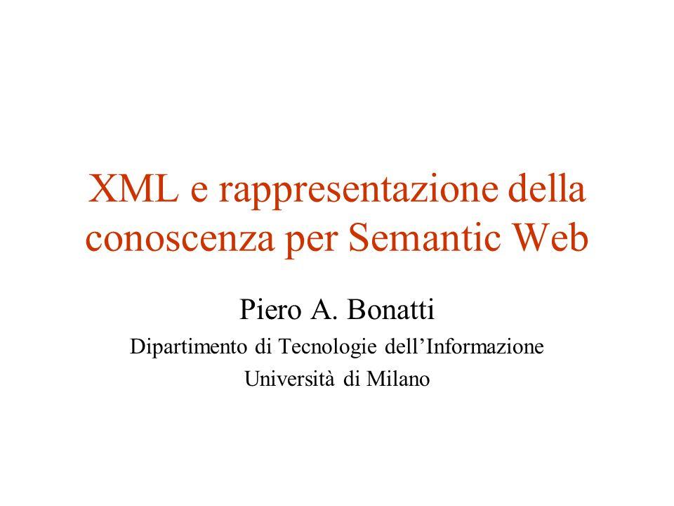 XML e rappresentazione della conoscenza per Semantic Web Piero A.