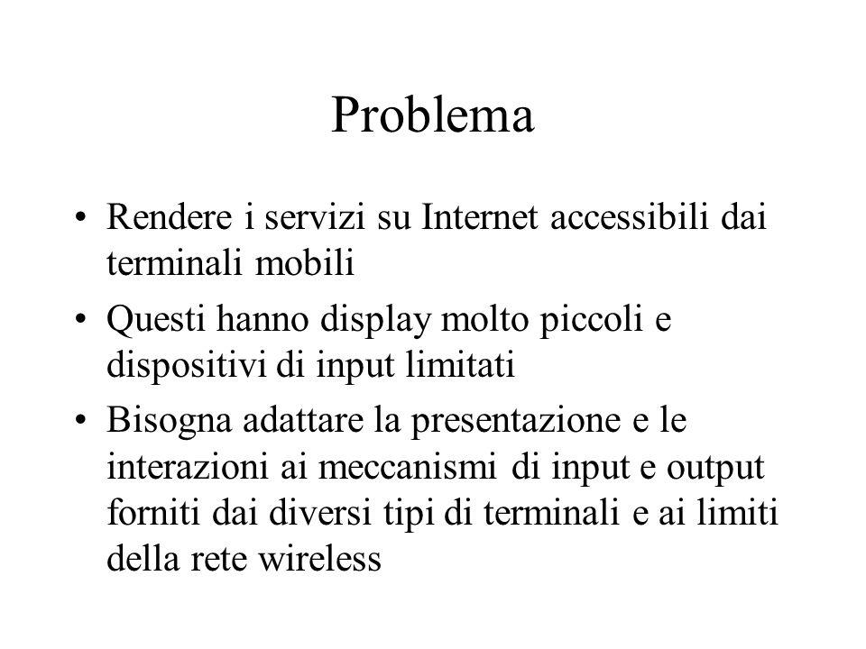 Problema Rendere i servizi su Internet accessibili dai terminali mobili Questi hanno display molto piccoli e dispositivi di input limitati Bisogna adattare la presentazione e le interazioni ai meccanismi di input e output forniti dai diversi tipi di terminali e ai limiti della rete wireless