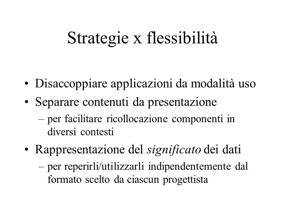 Strategie x flessibilità Disaccoppiare applicazioni da modalità uso Separare contenuti da presentazione –per facilitare ricollocazione componenti in diversi contesti Rappresentazione del significato dei dati –per reperirli/utilizzarli indipendentemente dal formato scelto da ciascun progettista