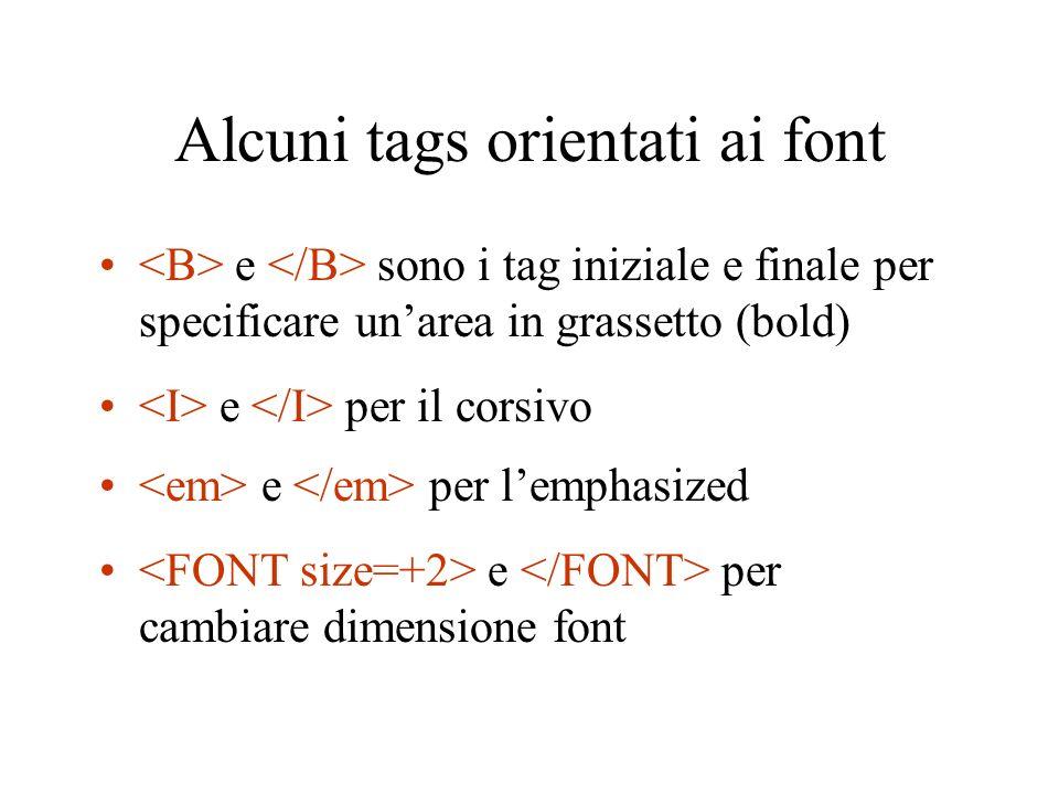 Alcuni tags orientati ai font e sono i tag iniziale e finale per specificare unarea in grassetto (bold) e per il corsivo e per lemphasized e per cambiare dimensione font