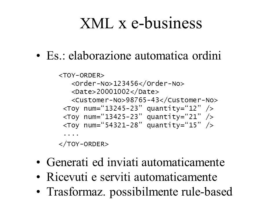 XML x e-business Es.: elaborazione automatica ordini Generati ed inviati automaticamente Ricevuti e serviti automaticamente Trasformaz.