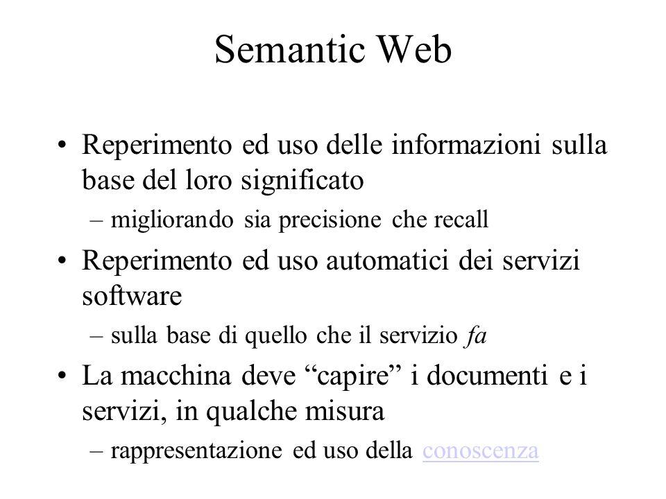 Indice del seminario Ruolo dei markup languages (XML) nellinteroperabilità di sistemi eterogenei –e loro limiti Description logics –linguaggi di rappresentazione della conoscenza –loro rappresentazione in XML Service Description Logics