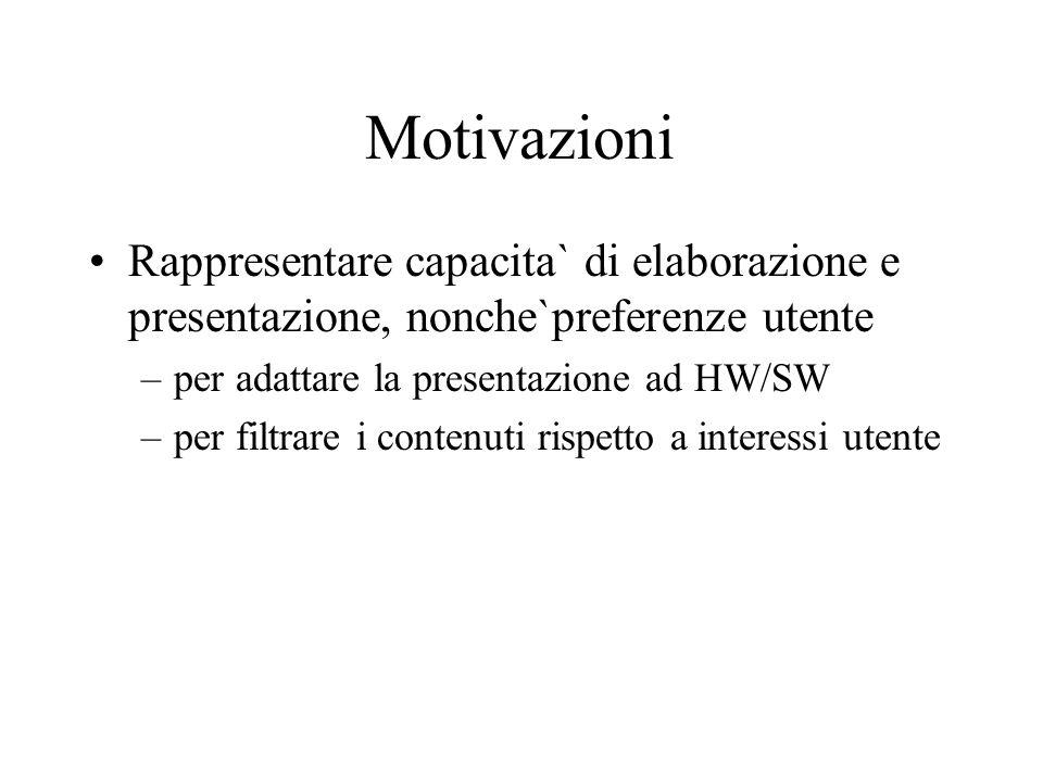 Motivazioni Rappresentare capacita` di elaborazione e presentazione, nonche`preferenze utente –per adattare la presentazione ad HW/SW –per filtrare i contenuti rispetto a interessi utente