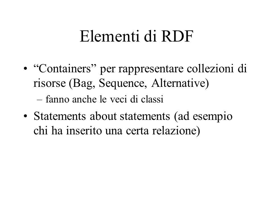 Elementi di RDF Containers per rappresentare collezioni di risorse (Bag, Sequence, Alternative) –fanno anche le veci di classi Statements about statements (ad esempio chi ha inserito una certa relazione)