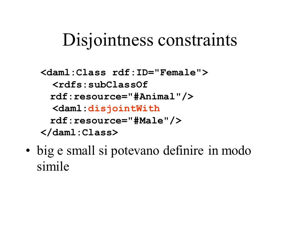 Disjointness constraints big e small si potevano definire in modo simile