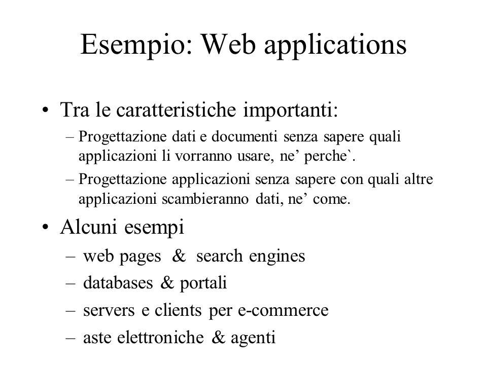 DAML+OIL DAML = Darpa Agent Markup Language OIL = Ontology Inference Layer Linguaggio concettuale per la rappresentazione della conoscenza Sintassi definita in/con XML Vedremo esempi per illustrare espressività del linguaggio