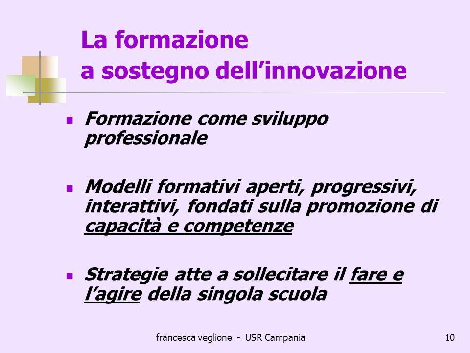 francesca veglione - USR Campania10 La formazione a sostegno dellinnovazione Formazione come sviluppo professionale Modelli formativi aperti, progress