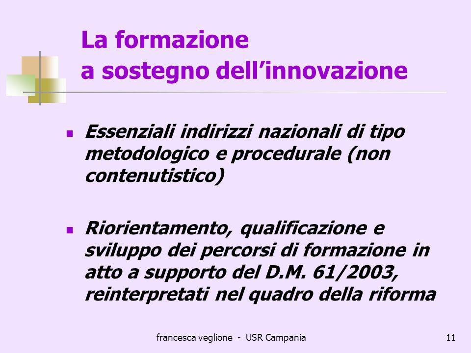 francesca veglione - USR Campania11 La formazione a sostegno dellinnovazione Essenziali indirizzi nazionali di tipo metodologico e procedurale (non co