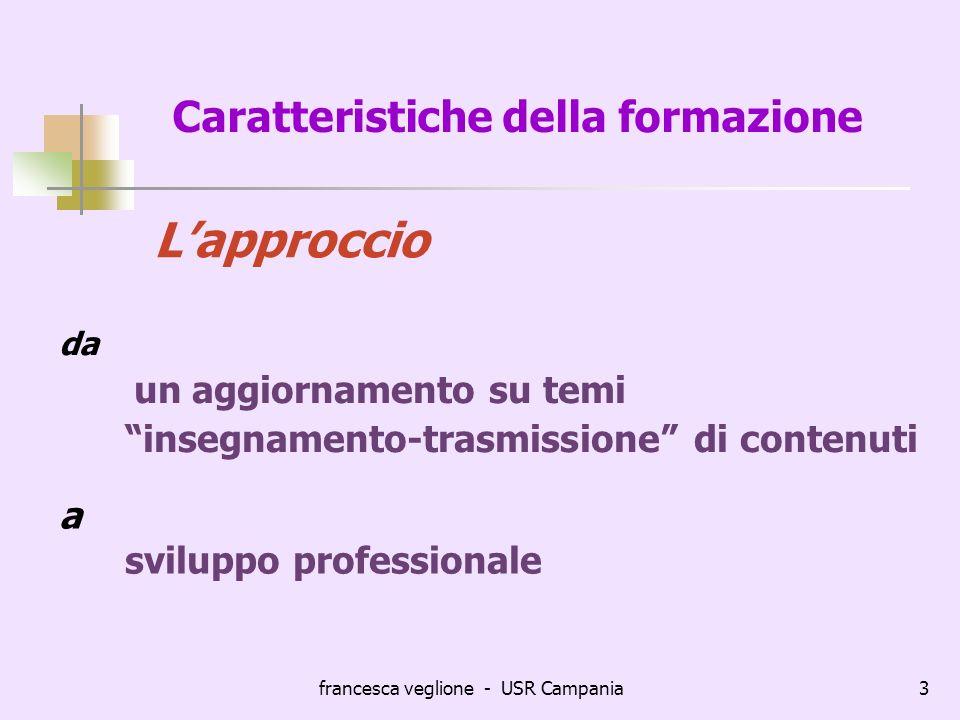 francesca veglione - USR Campania3 Caratteristiche della formazione da un aggiornamento su temi insegnamento-trasmissione di contenuti Lapproccio a sv