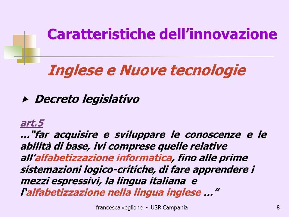 francesca veglione - USR Campania8 Caratteristiche dellinnovazione Inglese e Nuove tecnologie Decreto legislativo art.5 …far acquisire e sviluppare le