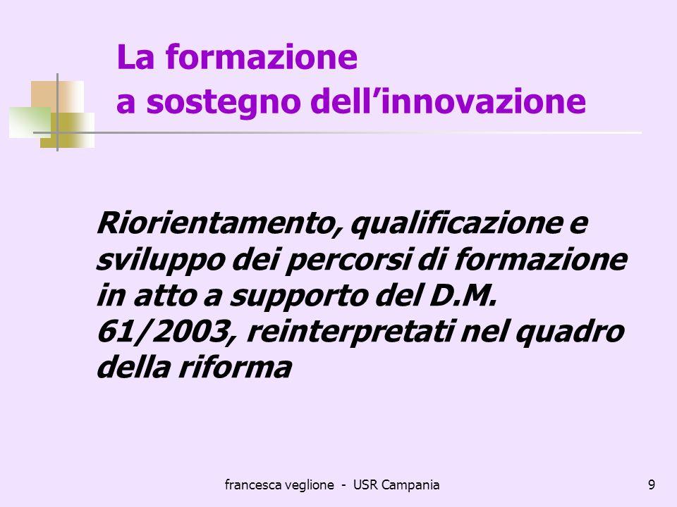 francesca veglione - USR Campania9 La formazione a sostegno dellinnovazione Riorientamento, qualificazione e sviluppo dei percorsi di formazione in at