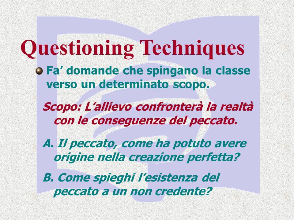 Questioning Techniques Fa domande che spingano la classe verso un determinato scopo.