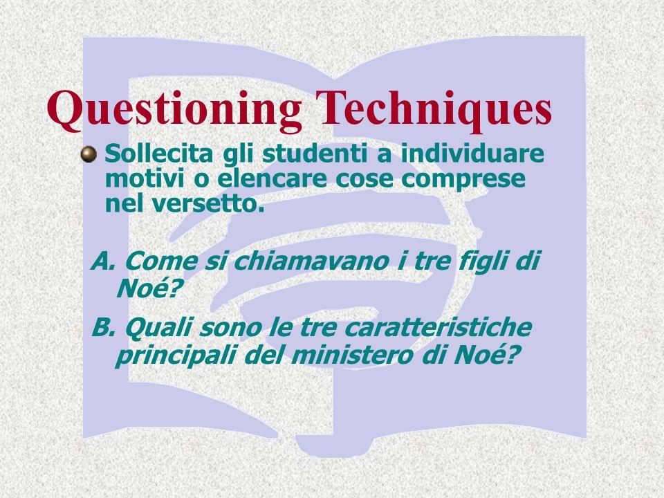 Questioning Techniques Sollecita gli studenti a individuare motivi o elencare cose comprese nel versetto.