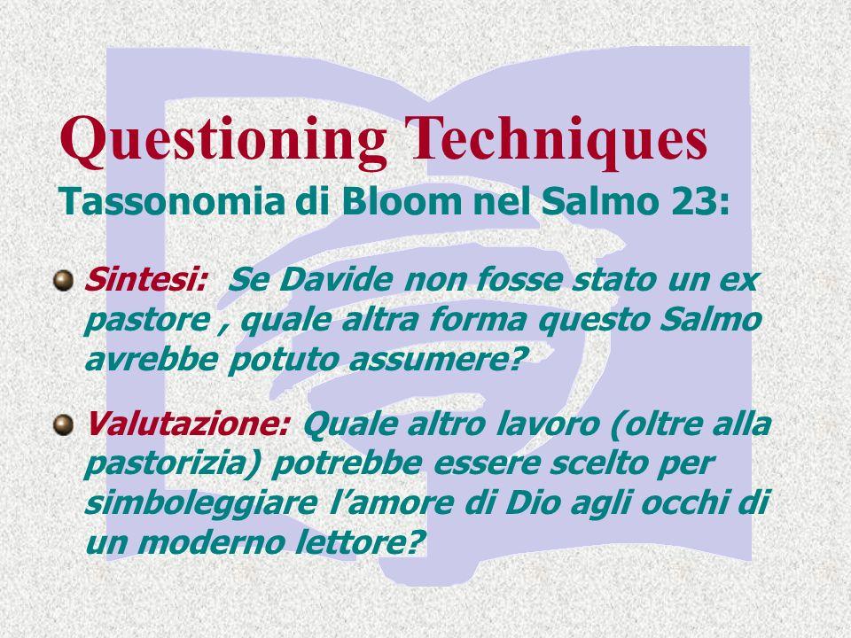 Questioning Techniques Tassonomia di Bloom nel Salmo 23: Sintesi: Se Davide non fosse stato un ex pastore, quale altra forma questo Salmo avrebbe potuto assumere.