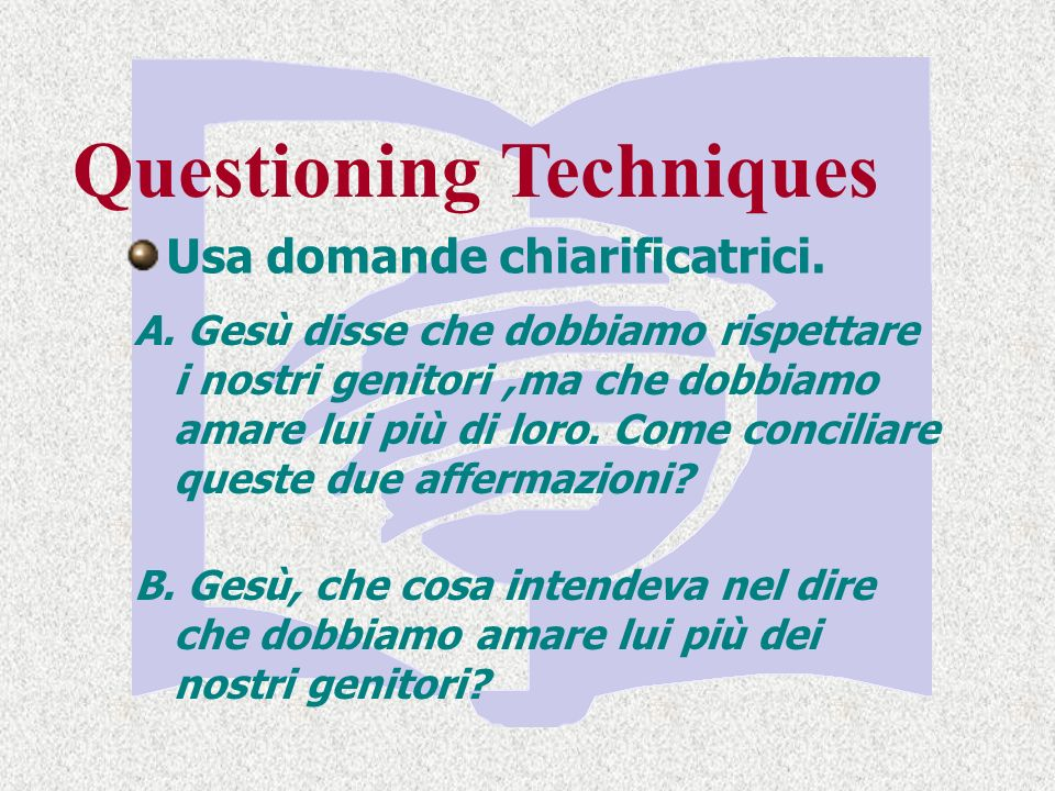 Questioning Techniques Usa domande chiarificatrici.