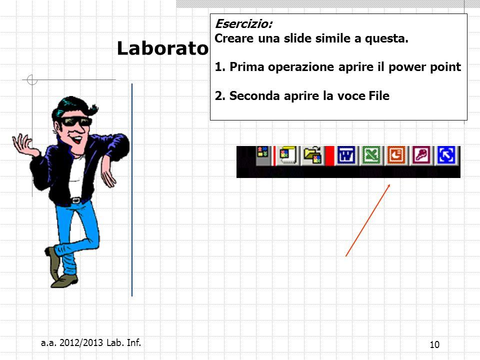 9 Laboratorio Informatico Oppure un file (piu o meno lungo) che contenga un effetto sonoro a.a. 2012/2013 Lab. Inf.