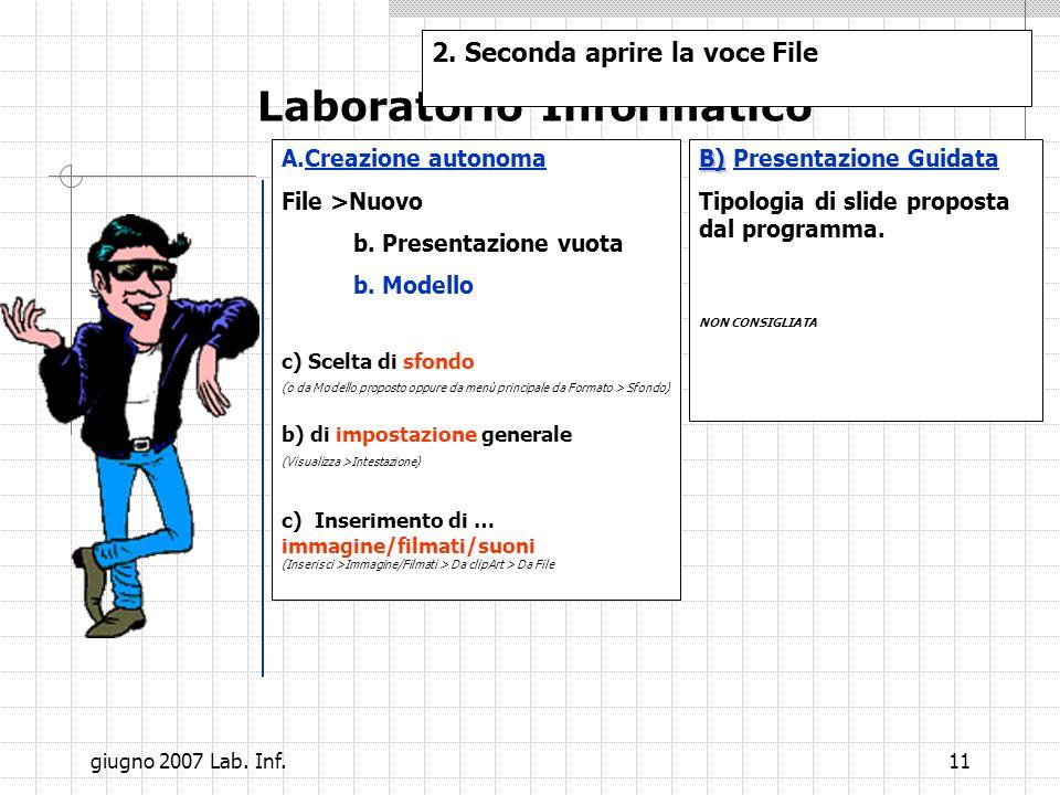 10 Laboratorio Informatico Esercizio: Creare una slide simile a questa. 1. Prima operazione aprire il power point 2. Seconda aprire la voce File a.a.