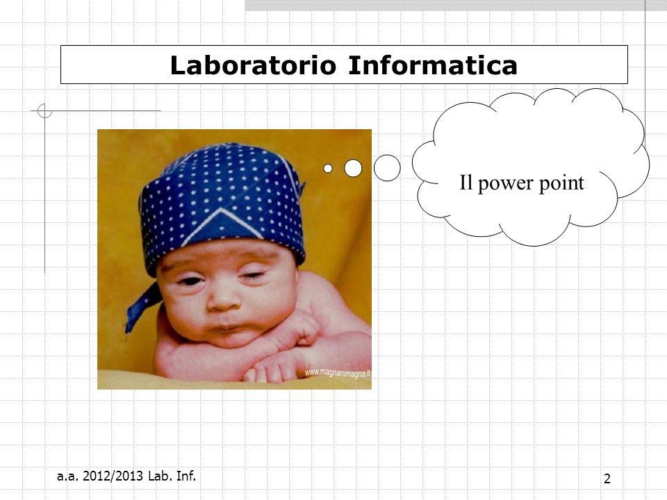 a.a. 2012/2013 Lab. Inf. 1 Laboratorio Informatica Maria Concetta De Vivo concetta.devivo@unicam.it O737 402828