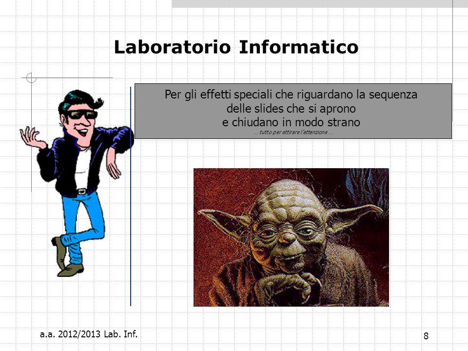7 Laboratorio Informatico Gli effetti speciali una comparsa dellimmagine al click del mouse Sono qui.. a.a. 2012/2013 Lab. Inf.