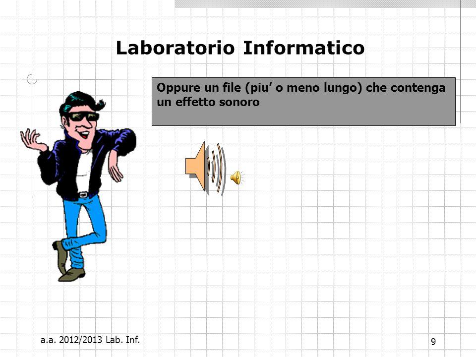8 Laboratorio Informatico Per gli effetti speciali che riguardano la sequenza delle slides che si aprono e chiudano in modo strano … tutto per attirar