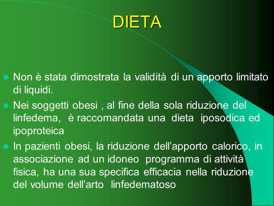 DIETA Non è stata dimostrata la validità di un apporto limitato di liquidi. Nei soggetti obesi, al fine della sola riduzione del linfedema, è raccoman