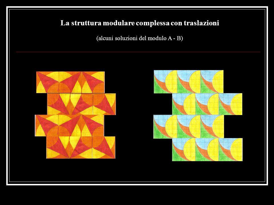 I sottomoduli Nella struttura il modulo si può ripetere variando soltanto il colore in modo seriale o con in più delle rotazioni o con delle traslazioni, creando dei nuovi sottomoduli
