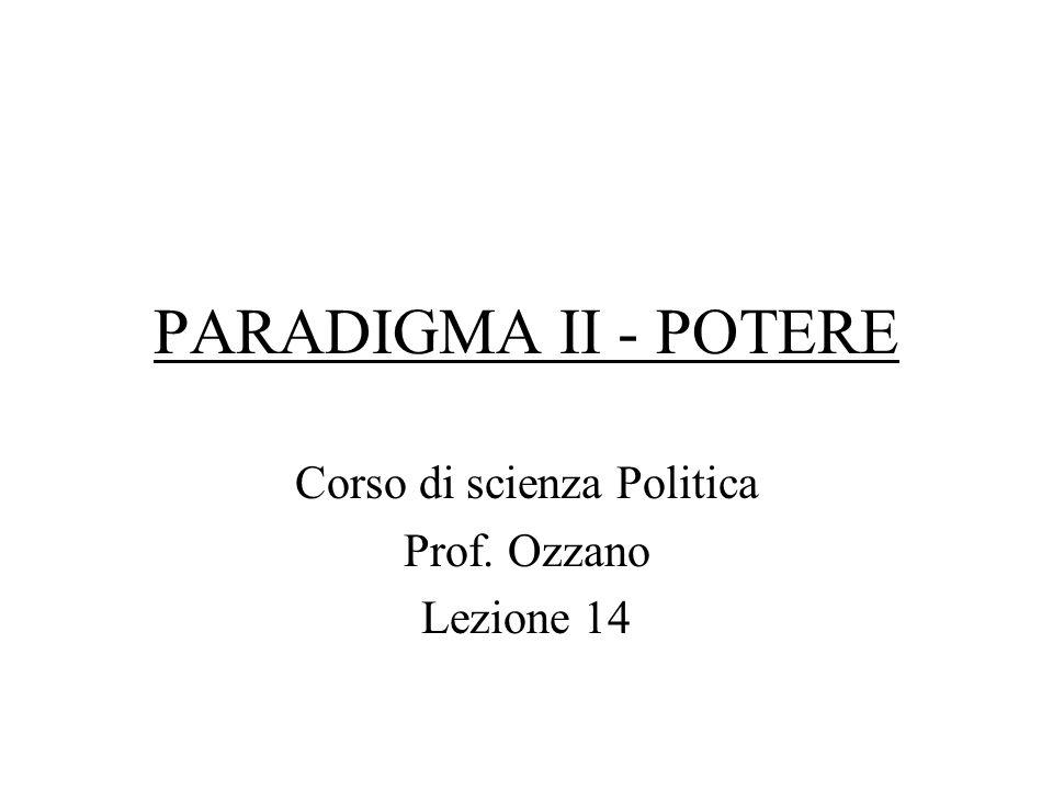 PARADIGMA II - POTERE Corso di scienza Politica Prof. Ozzano Lezione 14