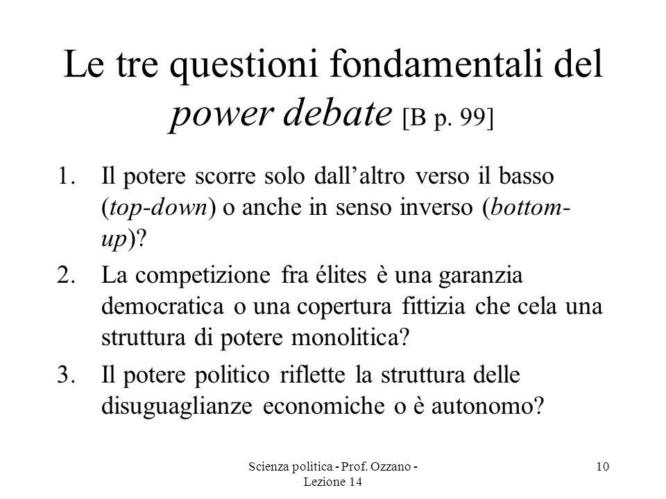 Scienza politica - Prof. Ozzano - Lezione 14 10 Le tre questioni fondamentali del power debate [B p. 99] 1.Il potere scorre solo dallaltro verso il ba