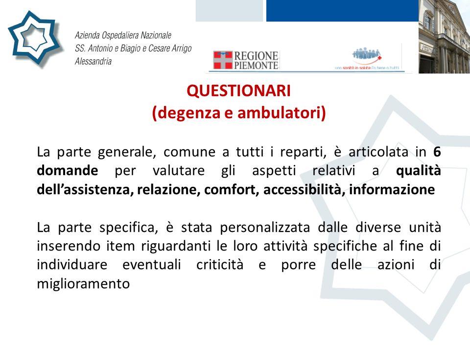 QUESTIONARI (degenza e ambulatori) La parte generale, comune a tutti i reparti, è articolata in 6 domande per valutare gli aspetti relativi a qualità