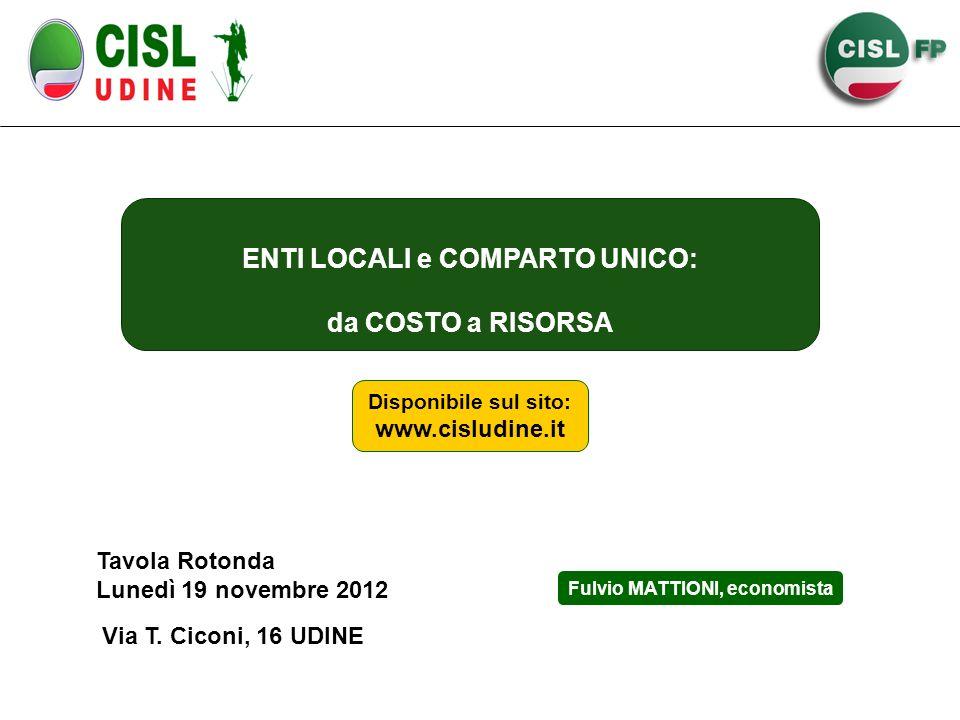 ENTI LOCALI e COMPARTO UNICO: da COSTO a RISORSA Tavola Rotonda Lunedì 19 novembre 2012 Via T.