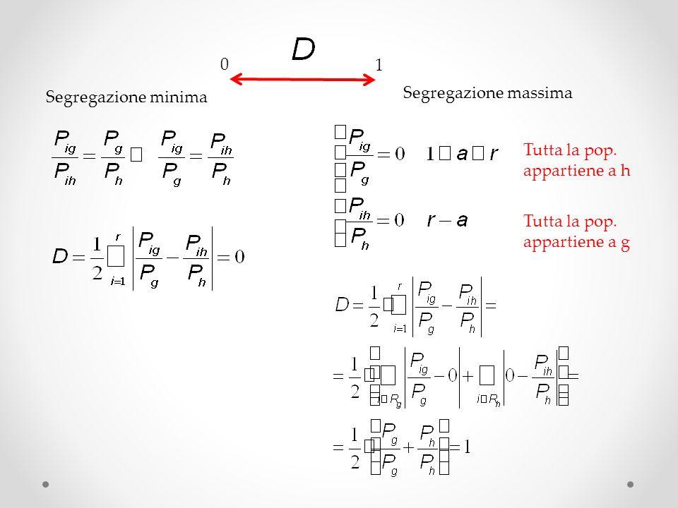 0 1 Segregazione minima Segregazione massima Tutta la pop. appartiene a h Tutta la pop. appartiene a g