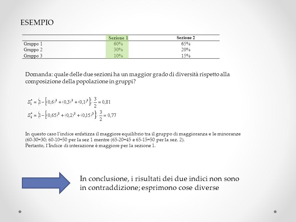 ESEMPIO Sezione 1 Sezione 2 Gruppo 160%65% Gruppo 230%20% Gruppo 310%15% Domanda: quale delle due sezioni ha un maggior grado di diversità rispetto al