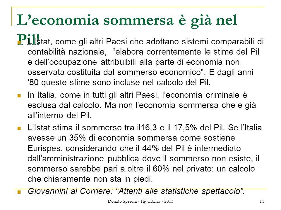 Leconomia sommersa è già nel Pil! LIstat, come gli altri Paesi che adottano sistemi comparabili di contabilità nazionale, elabora correntemente le sti
