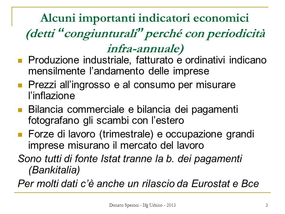 Donato Speroni - Ifg Urbino - 2013 3 Alcuni importanti indicatori economici (detti congiunturali perché con periodicità infra-annuale) Produzione indu