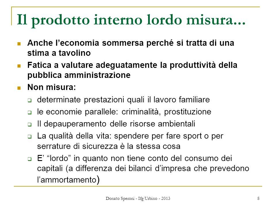 Donato Speroni - Ifg Urbino - 2013 8 Il prodotto interno lordo misura... Anche leconomia sommersa perché si tratta di una stima a tavolino Fatica a va