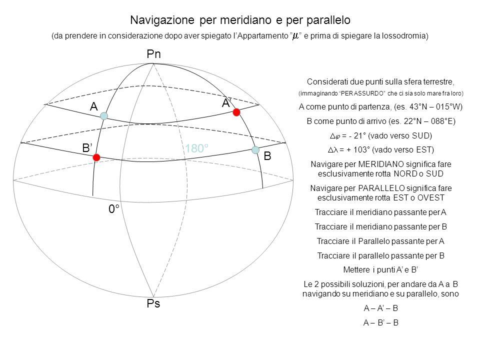 Navigazione per meridiano e per parallelo (da prendere in considerazione dopo aver spiegato lAppartamento e prima di spiegare la lossodromia 0° 180° P