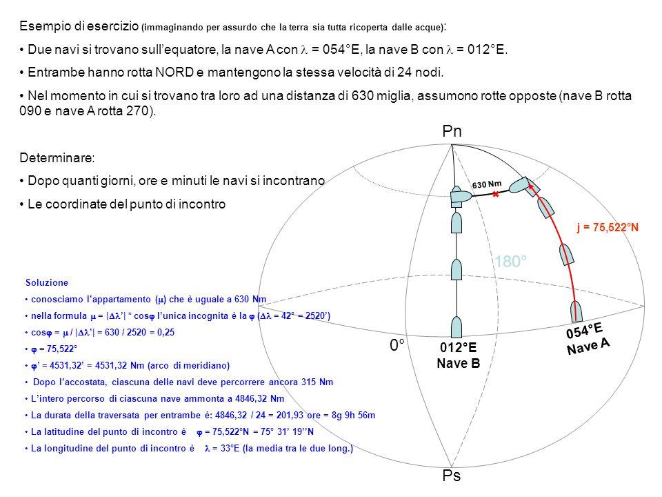 Esempio di esercizio (immaginando per assurdo che la terra sia tutta ricoperta dalle acque) : Due navi si trovano sullequatore, la nave A con = 054°E,