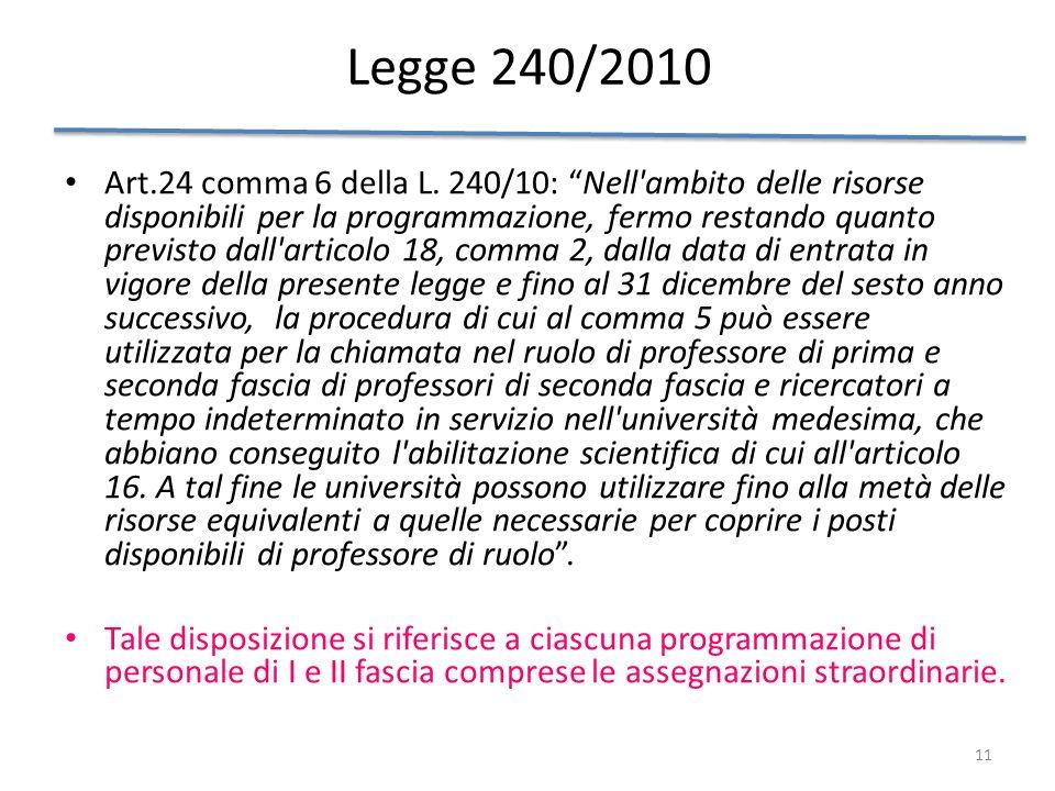 11 Legge 240/2010 Art.24 comma 6 della L. 240/10: Nell'ambito delle risorse disponibili per la programmazione, fermo restando quanto previsto dall'art