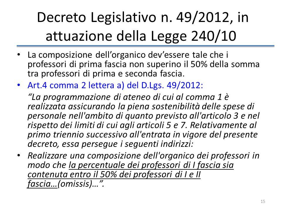 15 Decreto Legislativo n. 49/2012, in attuazione della Legge 240/10 La composizione dellorganico devessere tale che i professori di prima fascia non s